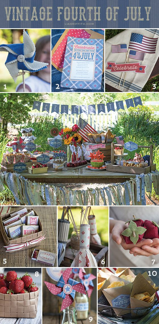 Vintage Fourth of July Party + craft tutorials by Lisa Frank of Handcrafted Parties and Lia Griffith.
