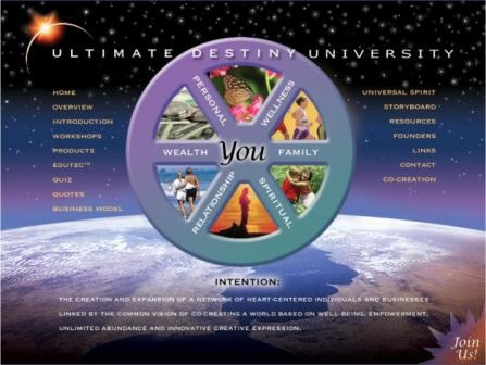 The Ultimate Destiny University for Successful Living, Inc. is one of the primary distribution channels for the Ultimate Destiny Success System. Through this not-for-profit membership organization, we produce webinars, seminars and playshops that help participants A.R.K. Awaken to our true spiritual identity; Realize more of their potential and Know how to fulfill their ultimate destiny. We also provide access to our programs and products on a pay It Forward and Pay What It's Worth To You…