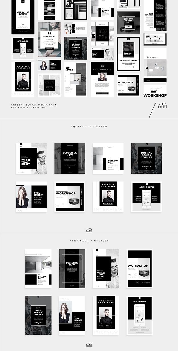 A professional presentation, 'Kelsey' offers a beautifully minimal design in three popular formats (square, horizontal & vertical) for all major social networks. #socialmedia #design #template