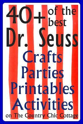 Dr. Seuss Crafts Parties Printable Activities Treats Birthday @Alishia Roff Roff Zuniga