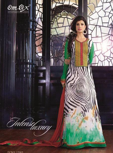 Omtex 17005 Green Color Chiffon Long Designer Suit