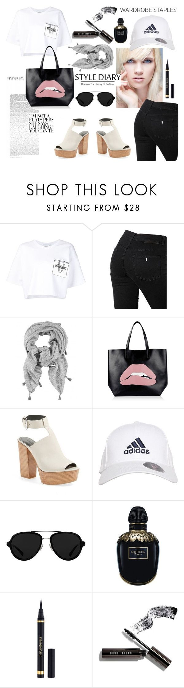 """Fun Basic"" by blackheaven on Polyvore featuring Moschino, STELLA McCARTNEY, RED Valentino, Rebecca Minkoff, adidas, 3.1 Phillip Lim, Alexander McQueen and Bobbi Brown Cosmetics"