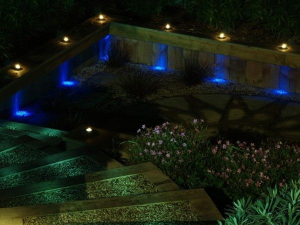 garden area with blue yellow and green lighting