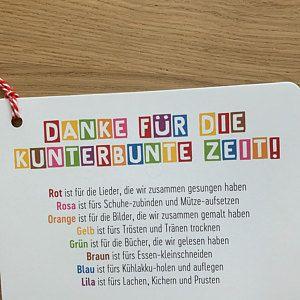 10 Karten mit Loch und Band Kita-Abschiedskarten Danke Abschied Kindergarten