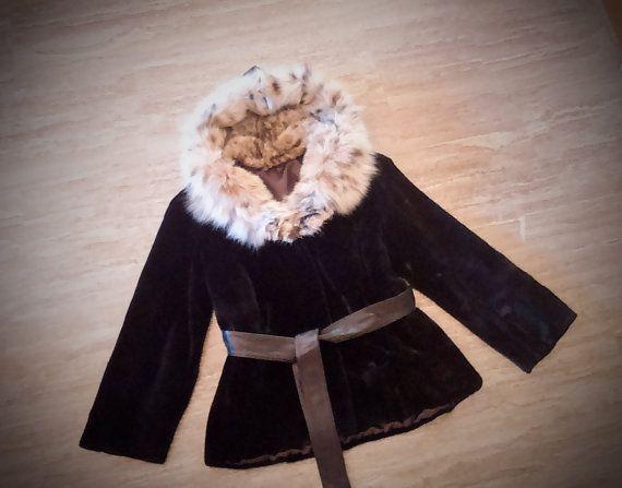 Fur Jacket/ Real fur/Mink fur with cat lynx hood