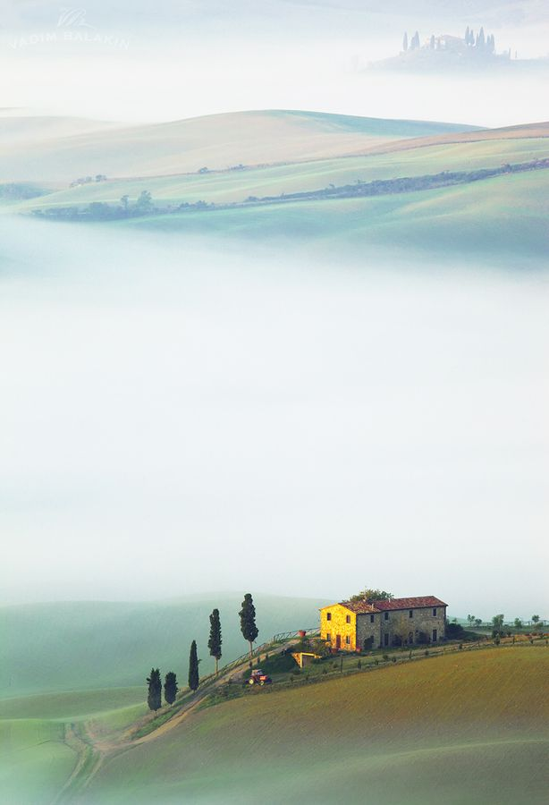 Val d'Orcia among the morning mist - Tuscany, Italy November 22, 2012
