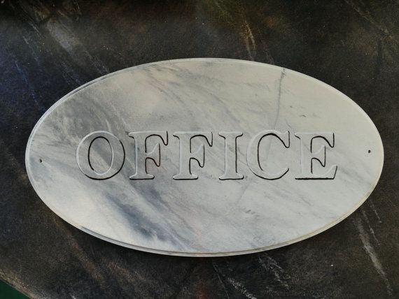 office  door plate sign cararra marble immitation by IlseHviid