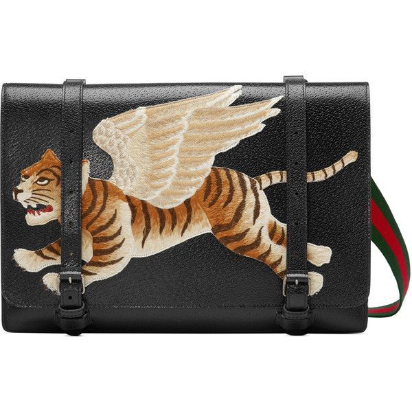 Gucci Leather Messenger With Tiger ($2,115) ❤ liked on Polyvore featuring men's fashion, men's bags, men's messenger bags, bags, men, messenger bags, mens courier bag, mens leather messenger bag, mens messenger bag and gucci mens messenger bag