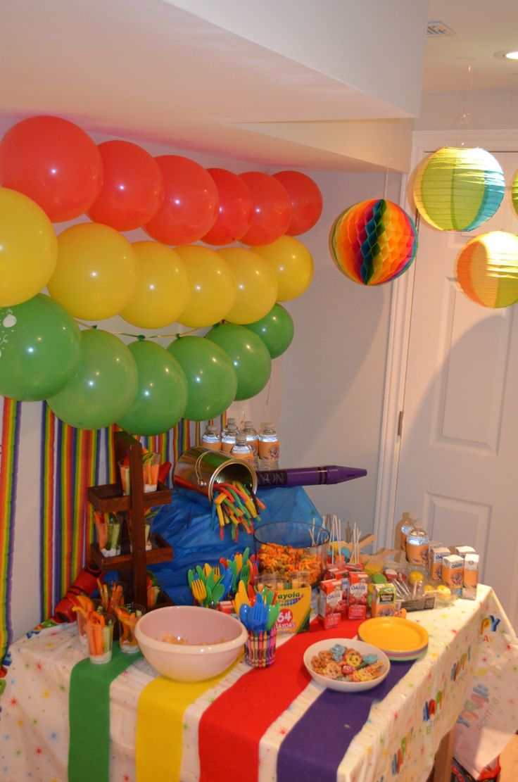 Balloons Rainbow Streamers And Colourful Lanterns Make The Backdrop For Table Setting A Crayon Birthday PartiesFall