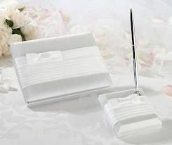 Lillian Rose Collection pleated white guest book and pen holder with pen. Please note that the guest book and pen holder/pen are sold separately. Sold at Second I Do's