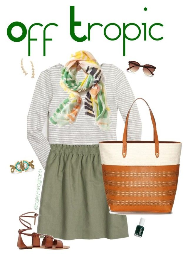 """""""Essie Inspired: Off Tropic"""" by baileymeaghanb on Polyvore featuring J.Crew, Old Navy, Stella & Dot, River Island and Essie"""