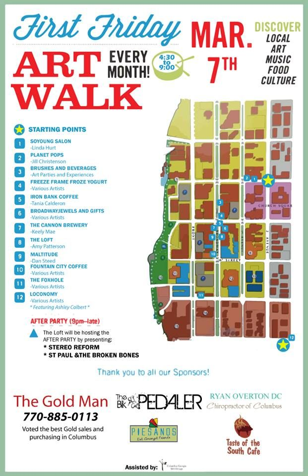 Here is a map showing all of the businesses participating in Columbus' FIRST First Friday Art Walk! Please come walk the route we have laid out for you and see some great local art!