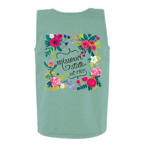 New World Graphics Women's Missouri State University Circle Flowers Tank Top (Green Light 02, Size Small) - NCAA Licensed Product, NCAA Women's at ...