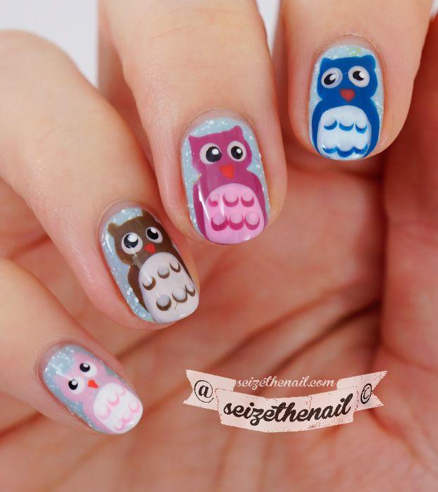 Easy owl nail art