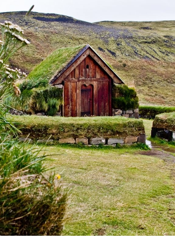 Church replica, Þjórsárdalur, Iceland. A reconstructed farm from the first centuries after the settlement has been built in Þjórsárdalur in southern Iceland. This tiny church belongs to the cluster of buildings.