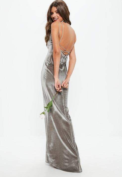 Bridesmaid Dress #affiliatelink #wedding #bridesmaid #bridesmaiddress | Bridesmaid Grey Velvet Plunge Lace Up Back Maxi Dress, Grey
