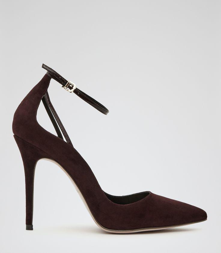 Womens Burgundy Suede Point-toe Heels - Reiss Leighton