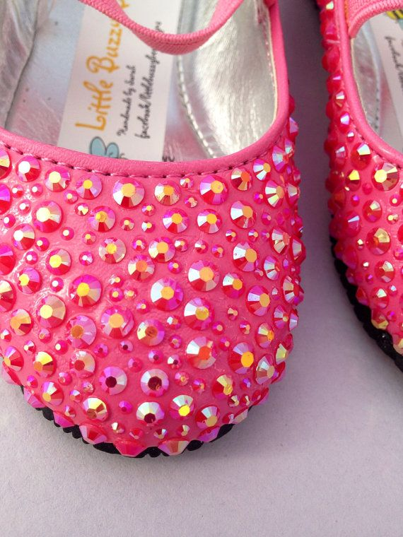 Girls Sparkle Pink Party Shoes by LittleBuzzyBee on Etsy.    These little girls party shoes are so cute. First birthday or cake smash shoes? #sparkle #partyshoes #pink