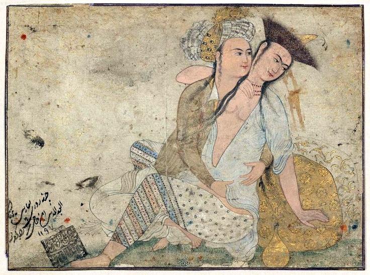 Erotic Scene Persian, Safavid Period, 1660 Iran DIMENSIONS W: 11.5 x L: 11.4 cm (4 1/2 x 4 1/2 in.) MEDIUM OR TECHNIQUE Ink, gold and color on paper http://www.mfa.org/collections/object/erotic-scene-13924