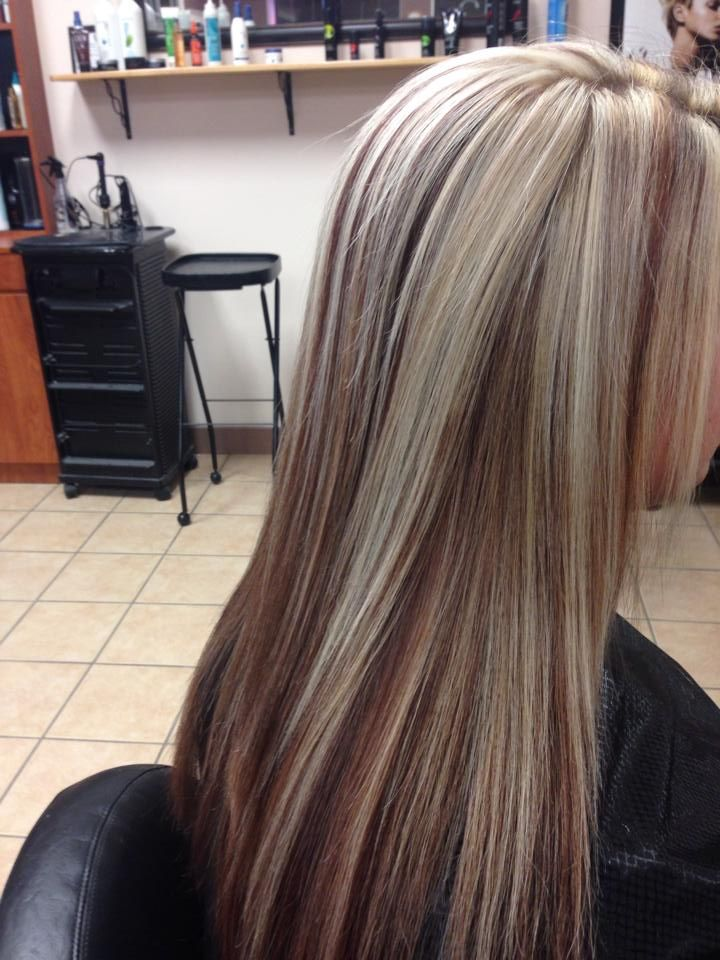 Blonde Hair With Burgundy Panel And Low Lights Hair