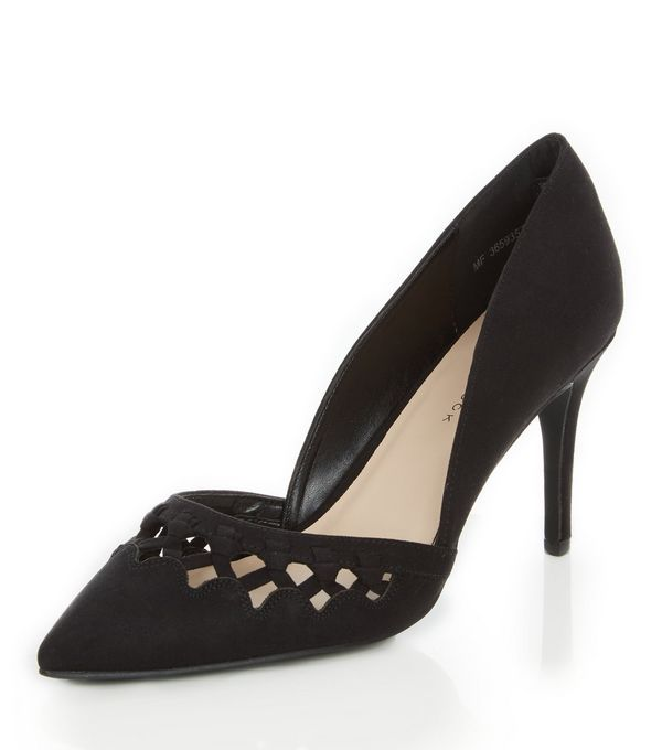 Wide Fit Black Suedette Woven Trim Pointed Heels  | New Look