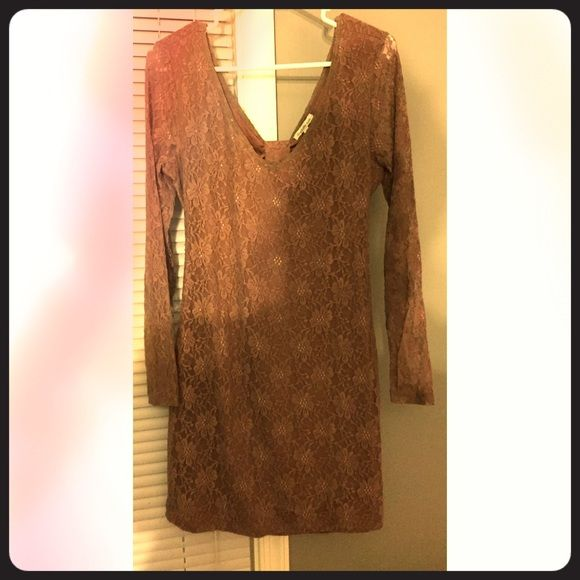 Brown bodycon dress Never worn, open back with bow, sheer lace sleeves, TTS Charlotte Russe Dresses Mini