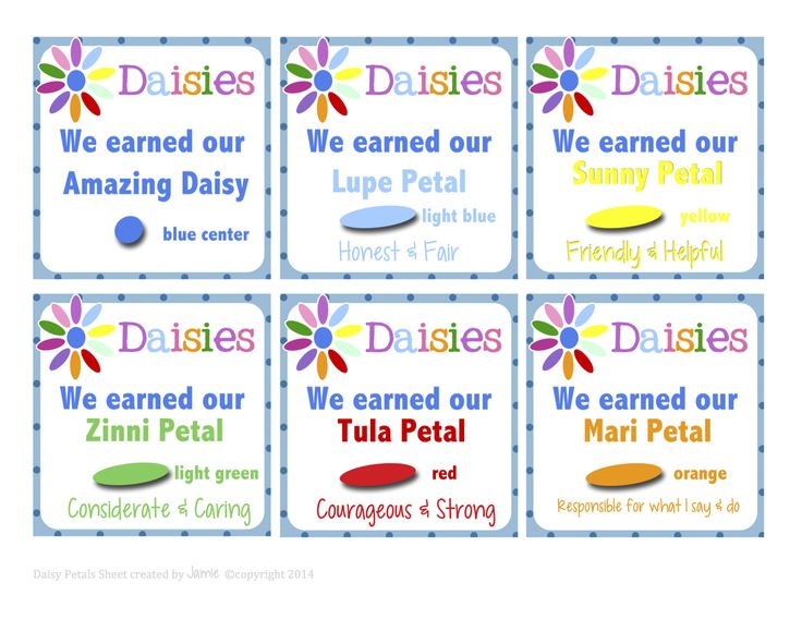 Here are Daisy Petal Cards (2 pgs) that would be great to give to parents after a petal has been earned so they know which one to iron on ne...