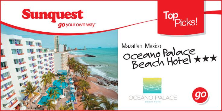 Top Picks: Oceano Palace Beach Hotel in Mazatlan, Mexico Calgary Departures!  http://www.sunquest.ca/en/oceano-palace-beach-mazatlan