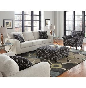 The Metro Collection has straight lines and a super soft body fabric. A geometric pattern of black and cream is used for the accents on the toss pillows as well as an accent chair and cocktail ottoman. Incredibly just $599