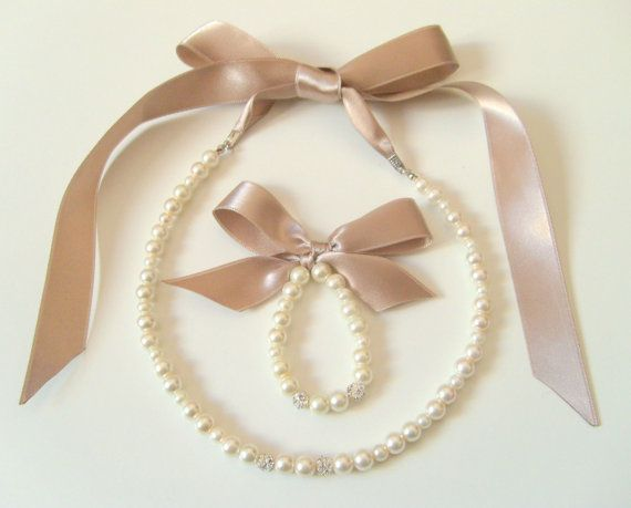 Flower girl jewelry set ribbon adjustable necklace and by xxyz, $25.00