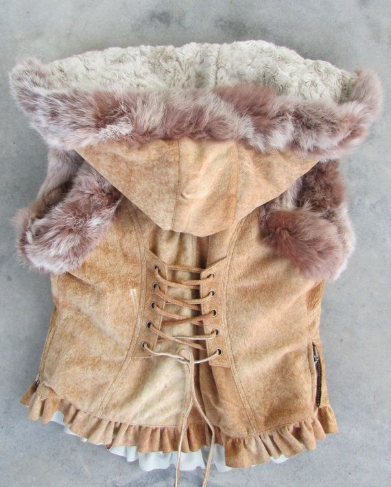Brown tan suede leather biker vest leather by EnchantedClothing