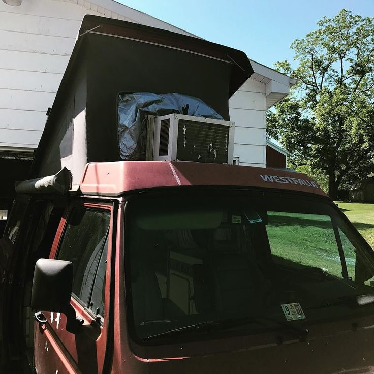 Say what you will camping at a hot humid beach with electric and 4 people means this thing is coming with us. . . . . . . . . . . . . #vanagon #notcamping #weaksauce #dontcare #vanagon #awesomelyweird #dadventure #momandadventure