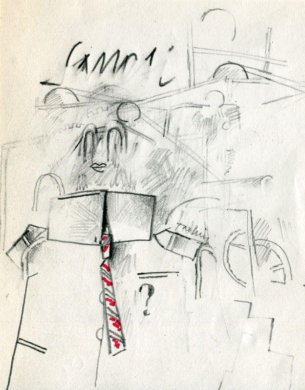 TADINI Emilio, Senza titolo (Sanesi). Disegno originale a matita e inchiostro rosso, firmato a matita dall'Artista. Il disegno è dedicato all'amico poeta e critico d'arte Roberto Sanesi. Cm 14 x 11
