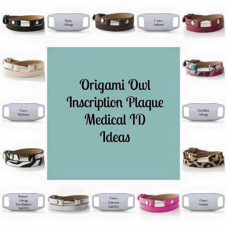 Origami owl's new inscription plaque is a great alternative to medical alert bracelets. Shop online www.dquick.origamiowl.com