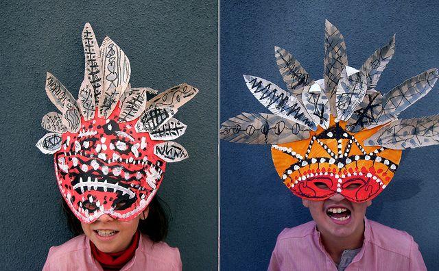 Africain masque carton peinture c1c2 carnaval pinterest bonnes id es carnavals et masques - Masque a peinture ...