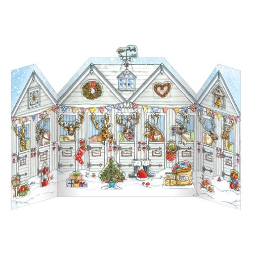 ADV23 Reindeer Stables Advent Calendar by Phoenix Trading. Pop out a character each day to build up the picture, can be reused. Only £7.50 and can be ordered at www.nichola.cards