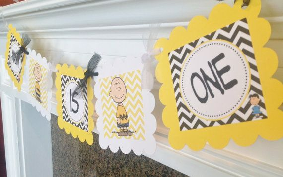 NAME is ONE highchair banner - Charlie Brown & Peanut Gang Inspired - Black Yellow Chevron with White accents - Party Packs Available