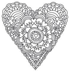 heart abstract doodle zentangle zendoodle paisley coloring pages colouring adult detailed advanced printable kleuren voor volwassenen