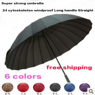 Super strong umbrella 24 cytoskeleton windproof Long handle Straight umbrella free shipping-in Umbrellas from Home & Garden on Aliexpress.co...