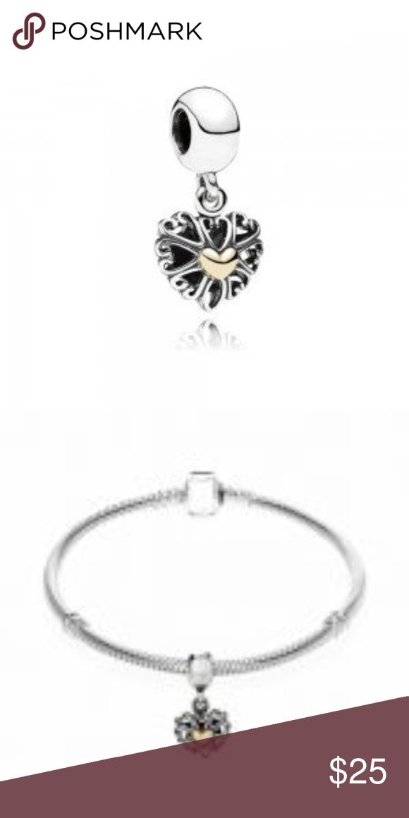 Sterling Silver Openwork Love Charm This Beautiful And Stunning Forever Charm Love Openwork Charm is sterling silver with REAL 14ct.GOLD. This charm is threaded and will fit Pandora jewelry. CH076 WEIGHT:2.70 THREADED Real 14ct. GOLD Heart Pandora-like Jewelry