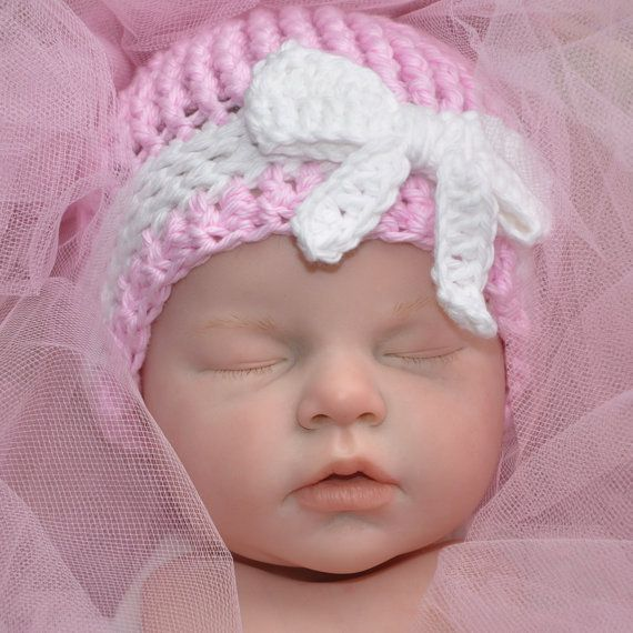 Cotton baby hat with bow Infant hat Photo by threekittensknitting, $16.00