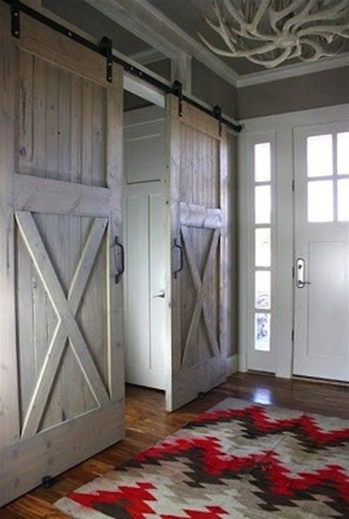 barn doors. very cool. love that rug also!