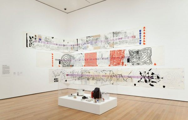 A map of the land of feeling, from Rirkit Tiravanija, at the NY Museum of Modern Artt: like a scroll, with maps, overlays of drawings, electronic reproductions of his passport.