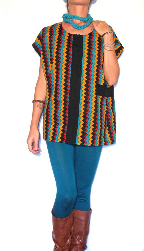 #Handmad e#clothing #women #fashion #shirt #blouse #tunic #zigzag #strips #missonistyle #printed by #ITINLab       https://www.etsy.com/listing/207983499/handmadeclothingwomenfashionshirtblouset?ref=shop_home_active_1