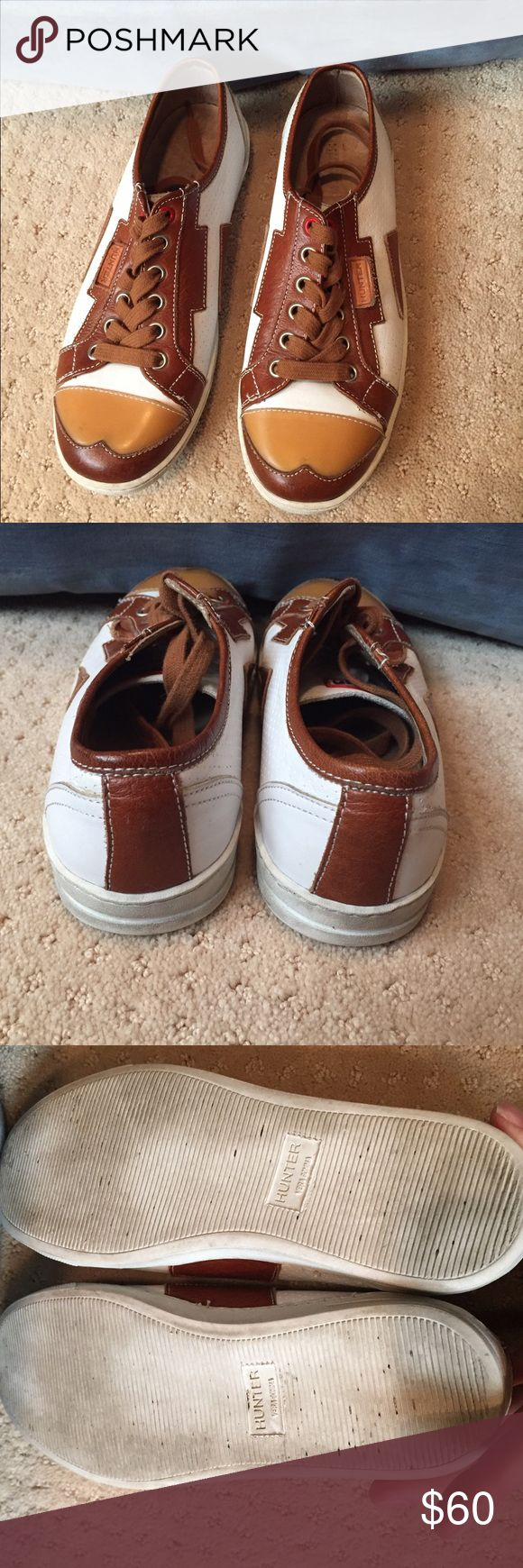 HUNTER Leather Sneakers Adorable leather sneakers made by HUNTER. Ultra soft leather with rubber cap wingtip toe. White and brown leather. Overall very good condition Hunter Shoes Sneakers