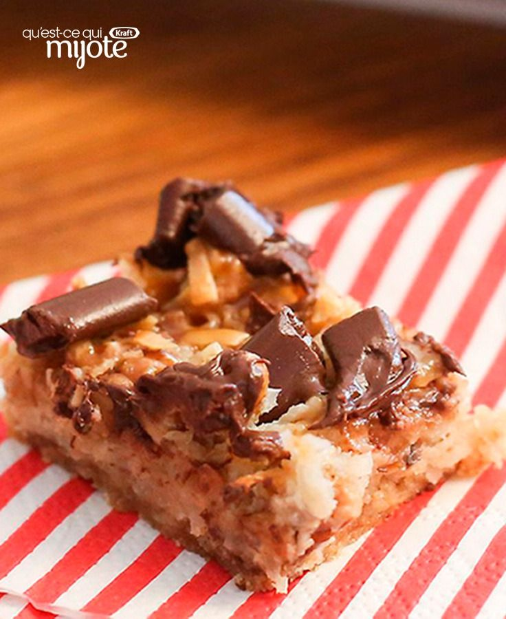 Barres au caramel, à la noix de coco et aux morceaux de chocolat #recette