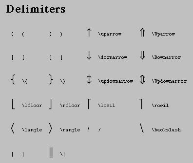 LaTEX Delimeters