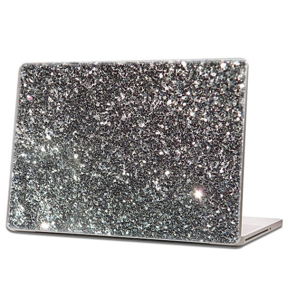 Black  Glitter Laptop Skin hex 015 by IridescentBeauty on Etsy, $40.00 - Love! Glamorous and affordable.