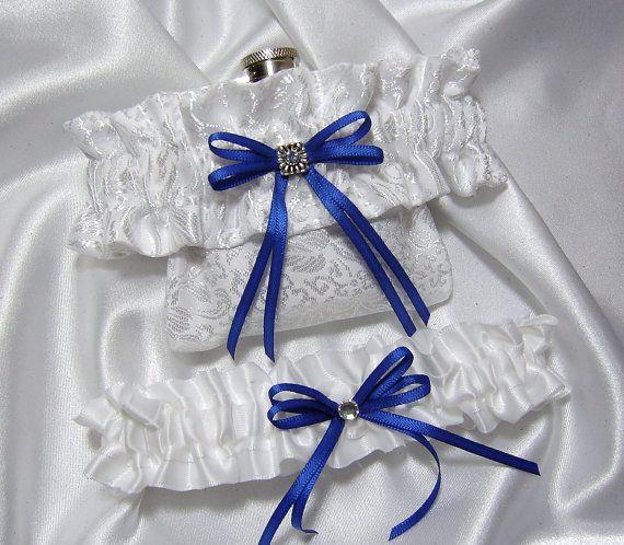 Flask Garter - White Satin Flask Garter w/ Something Royal Blue Ribbon - Toss Garter Included -  (Available in Ivory ). $42.00, via Etsy.