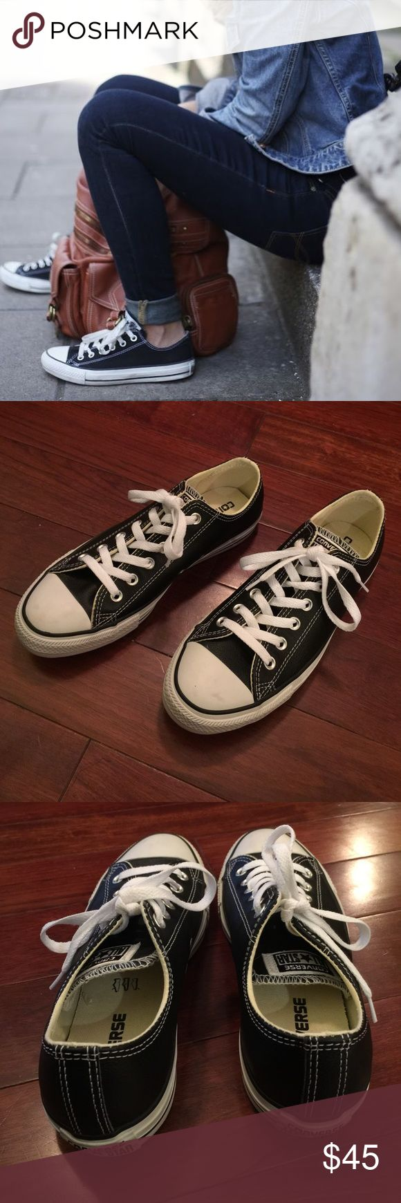 • { Converse } • Chuck Taylor Leather Sneakers Converse Chuck Taylor Leather Casual Sneakers. Unisex. Size: Men's 7 or Women's 9. In excellent, like new condition! Converse Shoes Sneakers